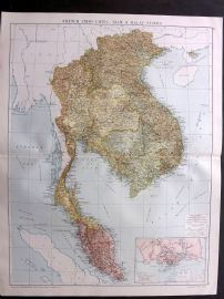 Gross 1920 Large Map. French Indo-China, Siam and Malay States